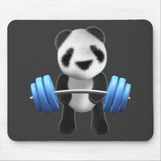 Powerlifter lindo del oso de panda del bebé en 3d tapete de ratón