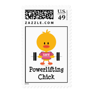 Powerlifting Chick Postage Stamps