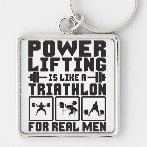 Powerlifting es como un Triathlon para los hombres Llavero Cuadrado Plateado