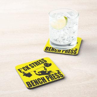 Powerlifting Motivation - F*CK Stress, Bench Press Drink Coaster