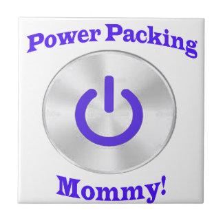 PowerPackingMommy-Azul Azulejo Cuadrado Pequeño