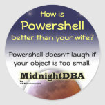 """Powershell doesn't laugh"" sticker"