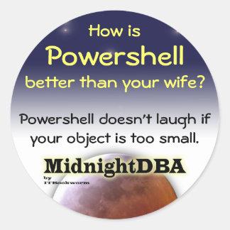 """Powershell no ríe"" al pegatina"