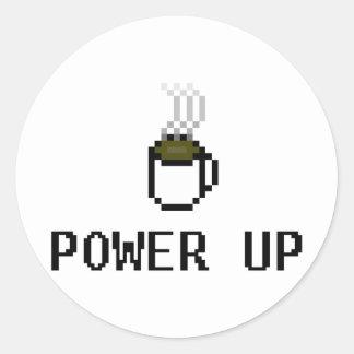 powerup pegatina redonda