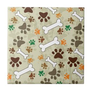 pows y hueso del perro azulejo cuadrado pequeño