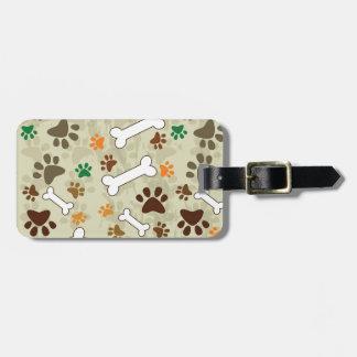 pows y hueso del perro etiquetas para maletas