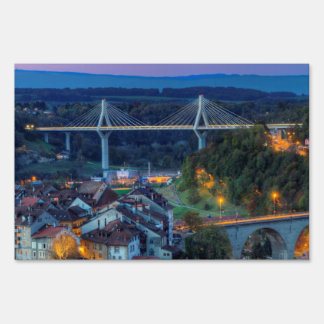 Poya and Zaehringen bridge, Fribourg, Switzerland Sign
