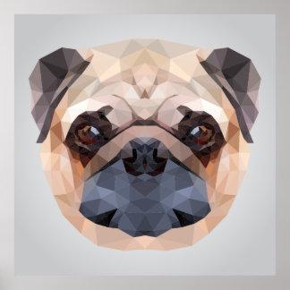 Poygonal pug dog portrait illustration poster