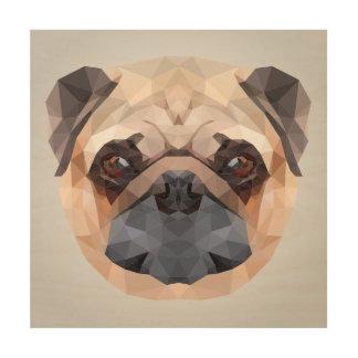 Poygonal pug dog portrait illustration wood wall decor