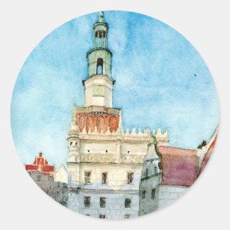 Poznan town-hall classic round sticker