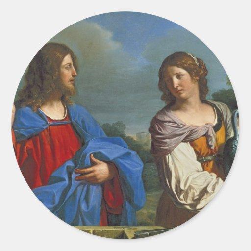 Pozo del EL del en de Samaritana del la de Jesús y Etiqueta Redonda