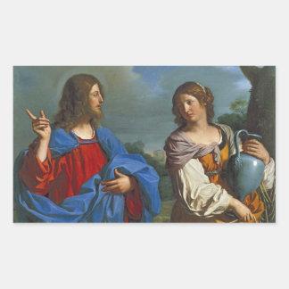 Pozo del EL del en de Samaritana del la de Jesús y Pegatina Rectangular