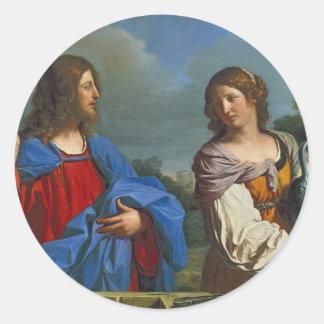 Pozo del EL del en de Samaritana del la de Jesús y Pegatina Redonda