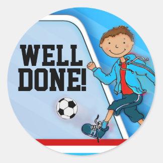 ¡Pozo hecho! pegatina azul del fútbol del fútbol