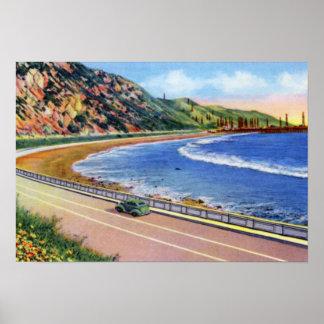 Pozos de petróleo de Ventura California de la oril Poster