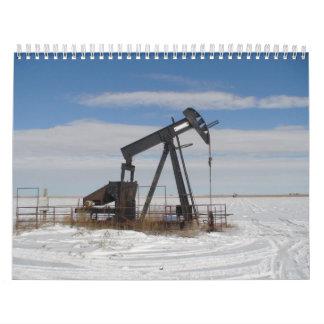 Pozos del arriendo del aceite Nevado Calendario De Pared
