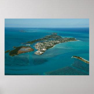 Pozos y isla españoles de Russell, Bahamas Póster