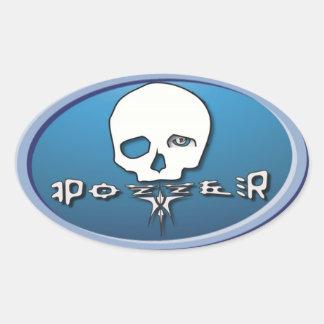 Pozzer light blue oval sticker