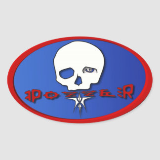 Pozzer Red White and Blue Oval Sticker