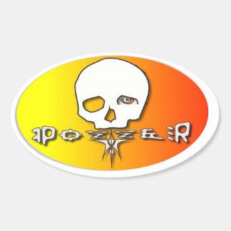 Pozzer yellow oval sticker
