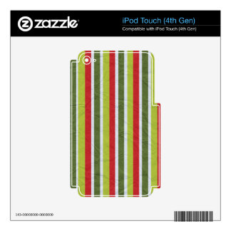 pp1 RED WHITE LIME GREEN DARK MOSS GREENS STRIPES Skins For iPod Touch 4G