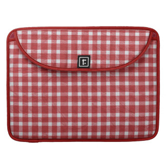 pp5 RED WHITE COUNTRY CHECKERED PATTERN SQUARES TE Sleeves For MacBook Pro