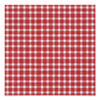 pp5 RED WHITE COUNTRY CHECKERED PATTERN SQUARES TE Photo Print