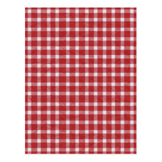pp5 RED WHITE COUNTRY CHECKERED PATTERN SQUARES TE Postcard