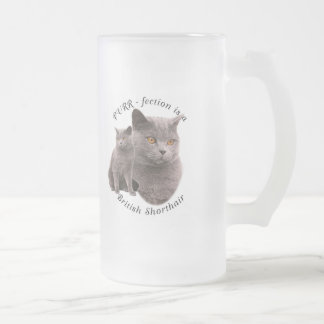 PPURR-fection British shorthair Blue Frosted Glass Beer Mug