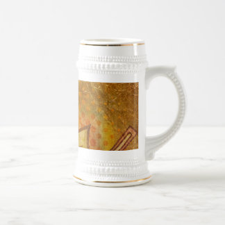 PR103 GOLDEN GRUNGE TEXTURE BACKGROUND PRINTING W 18 OZ BEER STEIN