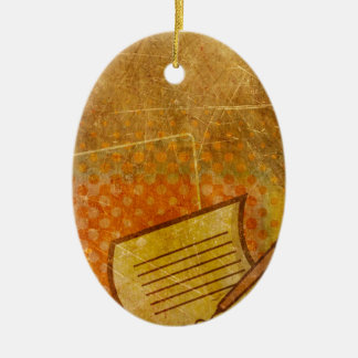 PR103 GOLDEN GRUNGE TEXTURE BACKGROUND PRINTING W Double-Sided OVAL CERAMIC CHRISTMAS ORNAMENT
