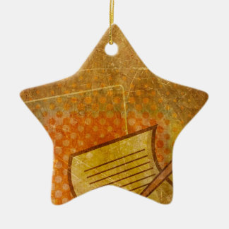 PR103 GOLDEN GRUNGE TEXTURE BACKGROUND PRINTING W Double-Sided STAR CERAMIC CHRISTMAS ORNAMENT