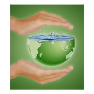 PR41 ENVIRONMENT CARING EARTH HUMANS WATER CAUSES POSTER