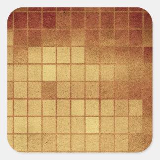 Pr 088 WORN GOLDEN GOLD BROWN MEXICAN TILES SQUARE Square Sticker