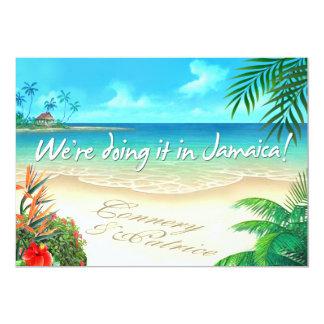 PR Exotic Beach Jamaican wedding get names in sand 5x7 Paper Invitation Card