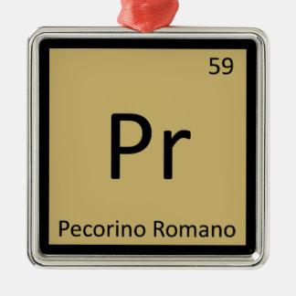 Pr - Pecorino Romano Cheese Chemistry Symbol Square Metal Christmas Ornament