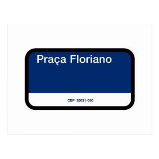 Praça Floriano, Rio de Janeiro, Street Sign Postcard