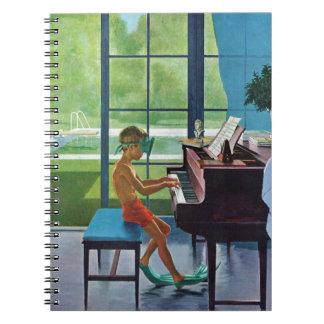 Práctica del piano del Poolside Libro De Apuntes Con Espiral