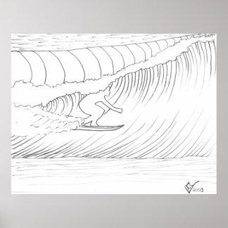 Practicado surf hacia fuera póster