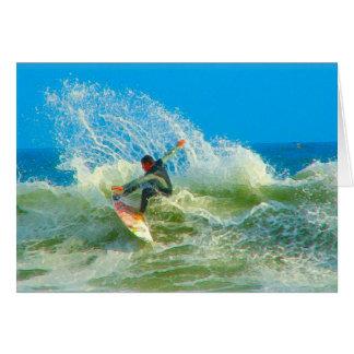 Practicado surf hacia fuera tarjeta pequeña