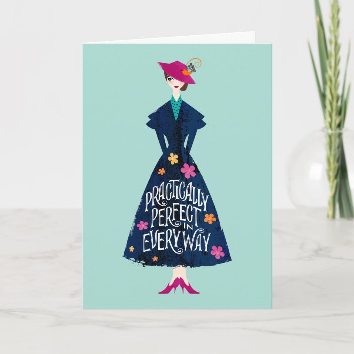 PERSONALISED CARD DISNEY MARY POPPINS PRACTICALLY PERFECT IN EVERY WAY