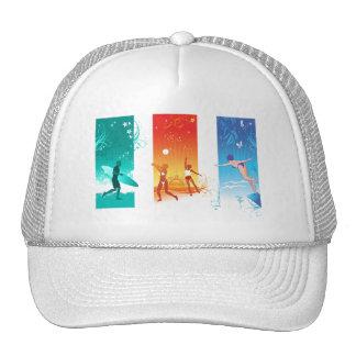Practicando surf, voleibol de playa, nadando para  gorras de camionero
