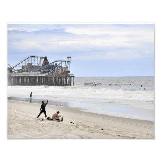 Practicar surf la orilla del jersey arte fotografico