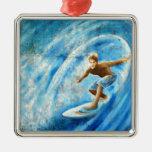 Practicar surf un mural azul de la resaca de la on ornaments para arbol de navidad
