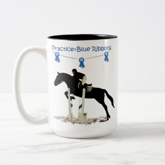 Practice=Blue Ribbons Equestrian Horse Mug