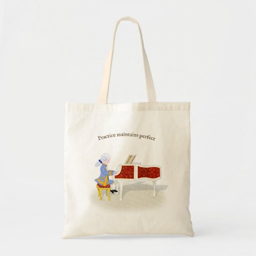 Practice Maintains Perfect Mozart Playing Harpsichord Budget Tote Bag