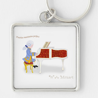 Practice Maintains Perfect Silver-Colored Square Keychain