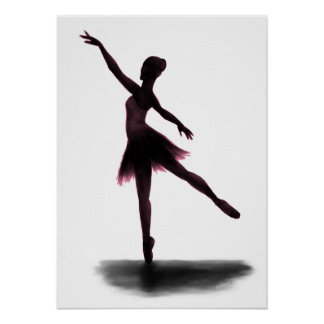 """Practice Makes Perfect"" ballerina poster - pink"