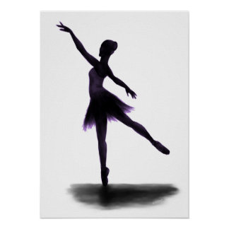 """Practice Makes Perfect"" ballerina poster - purple"