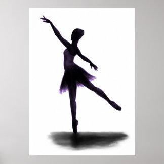 """Practice Makes Perfect"" ballerina poster - purple"